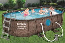 Bestway Power Steel Vista Oval Pool Set 427x250x100 Rattan 56714