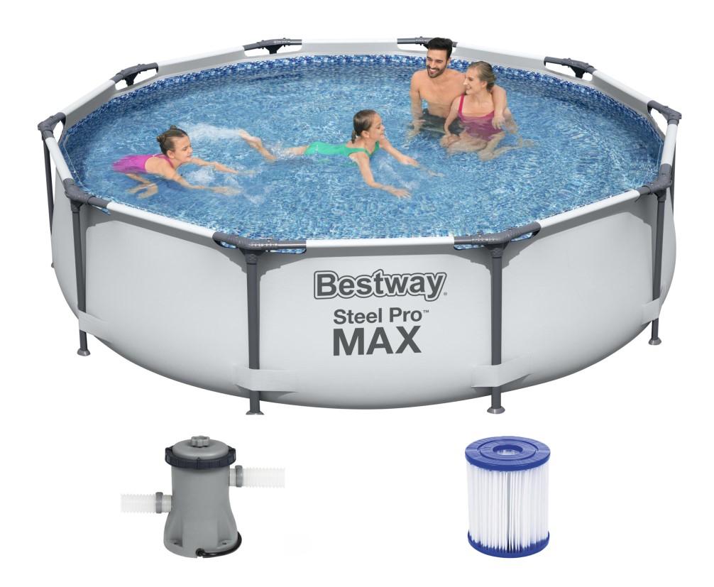 BESTWAY 56408 Steel-Pro-Max Swimming-Pool 305x76cm Metallrahmen Pool inkl Pumpe