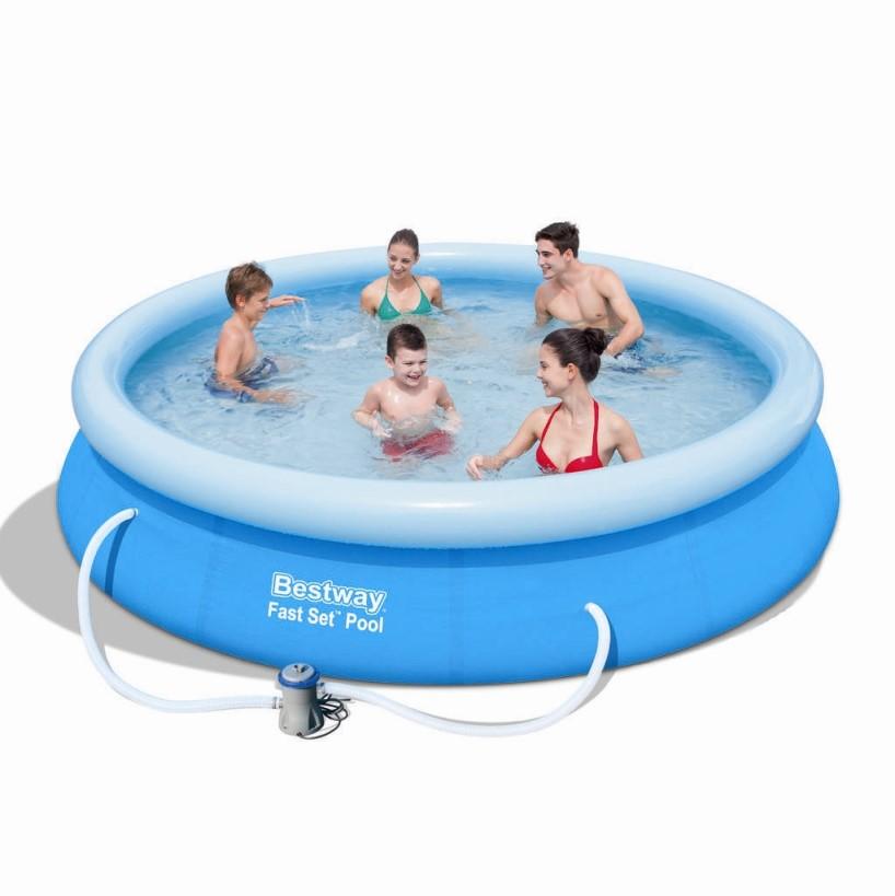 Bestway fast set pool 366x76cm pumpe 57274 57112 for Bestway pool folie