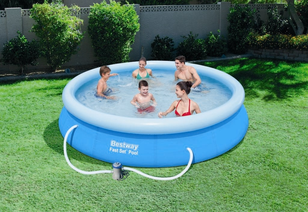 Bestway fast set pool 366x76cm pumpe 57274 57112 for Pool aufblasbar mit pumpe