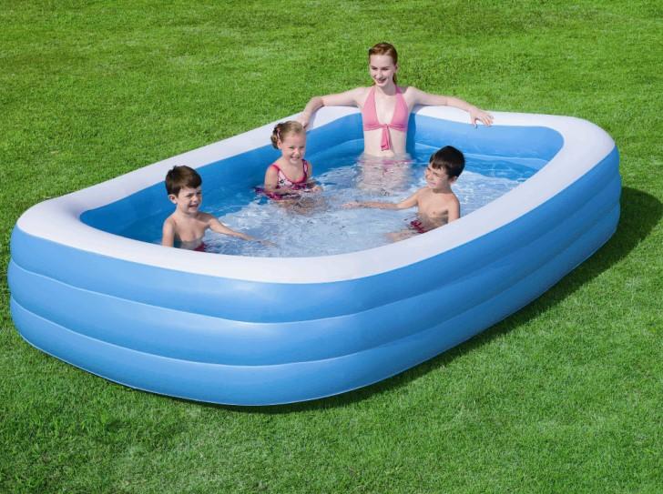 bestway family pool deluxe blue 54009. Black Bedroom Furniture Sets. Home Design Ideas