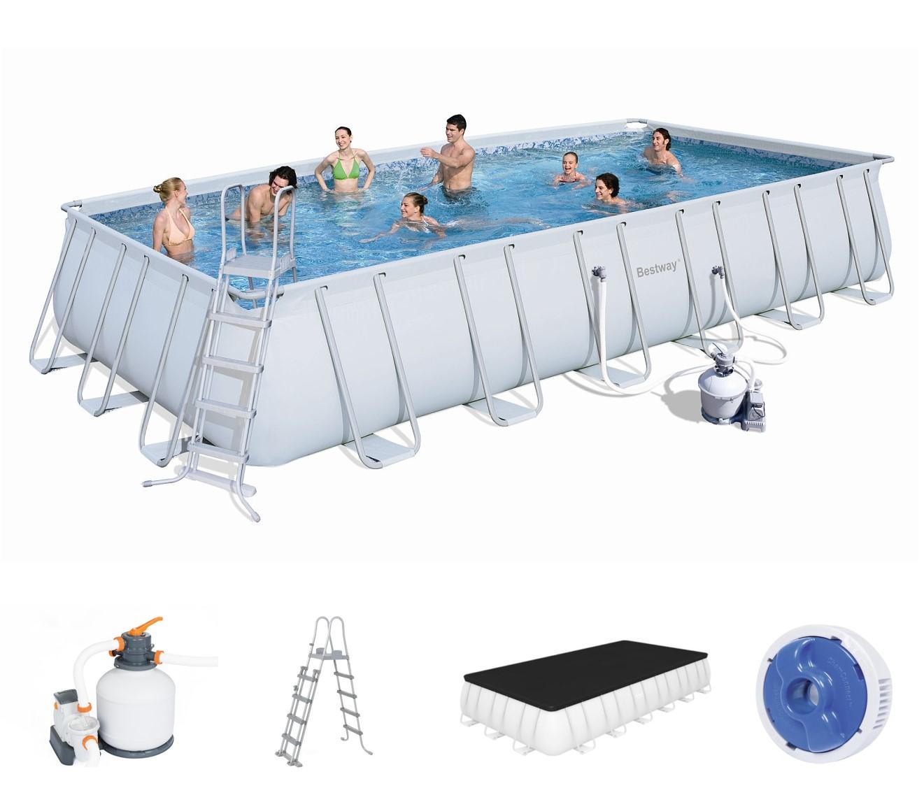 bestway rectangular frame pool set 732 x 366 sandfilter 56475. Black Bedroom Furniture Sets. Home Design Ideas
