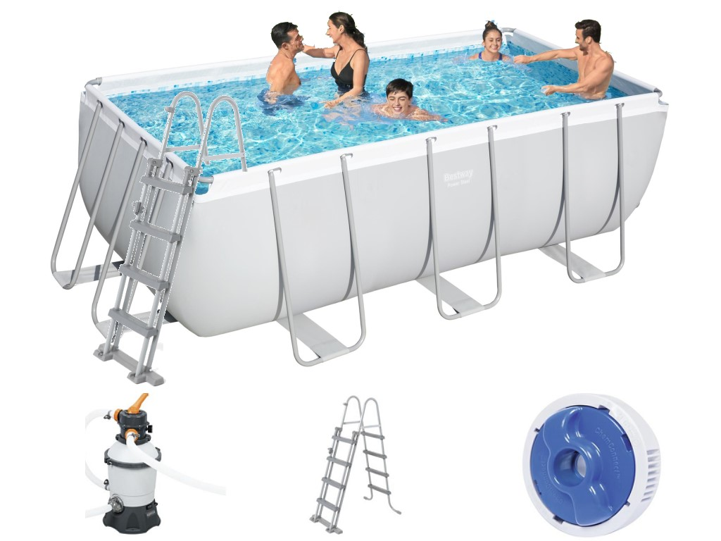 Bestway frame pool set 412 x 201 mit sandfilter 56457 for Bestway pool obi