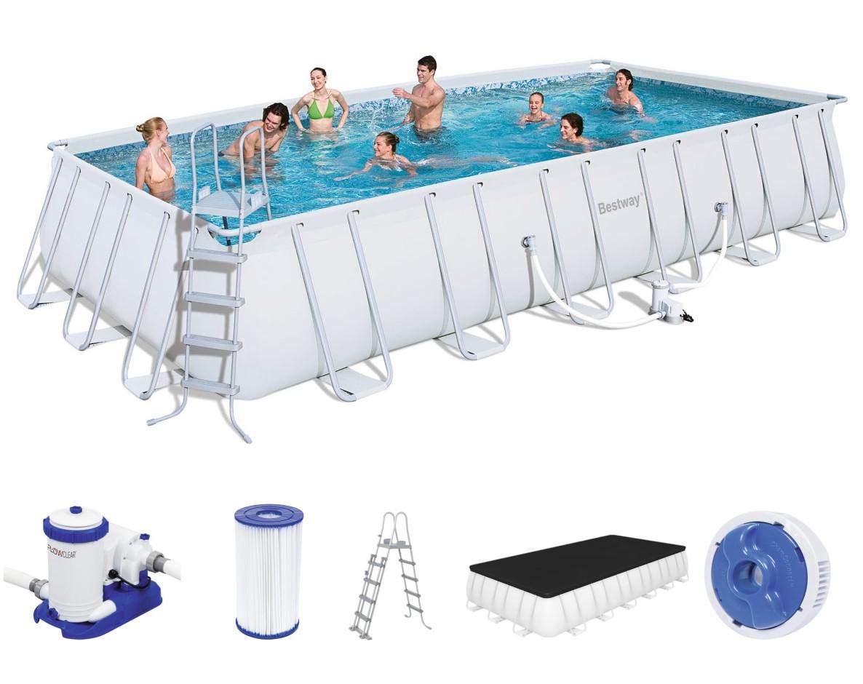 bestway rectangular frame pool set 732 x 366 56474. Black Bedroom Furniture Sets. Home Design Ideas