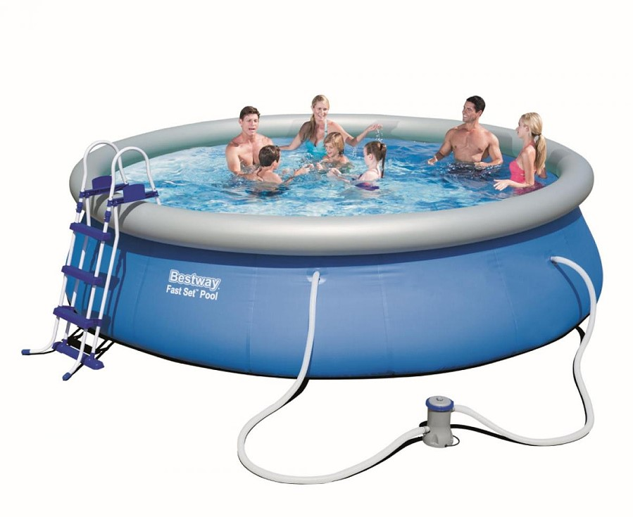 Bestway fast set pool komplett set 457x107 57294 gs for Komplett pool