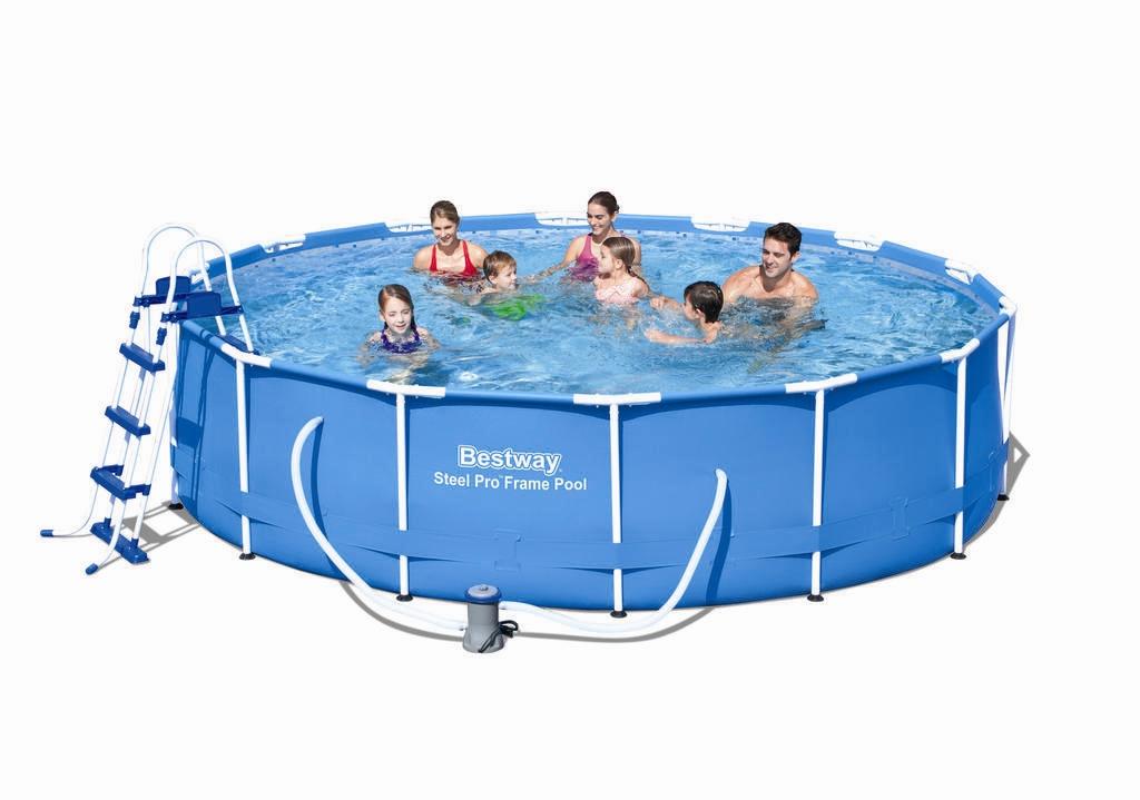 Bestway metal frame pool komplett set 427x100 56422 for Garten pool komplett set
