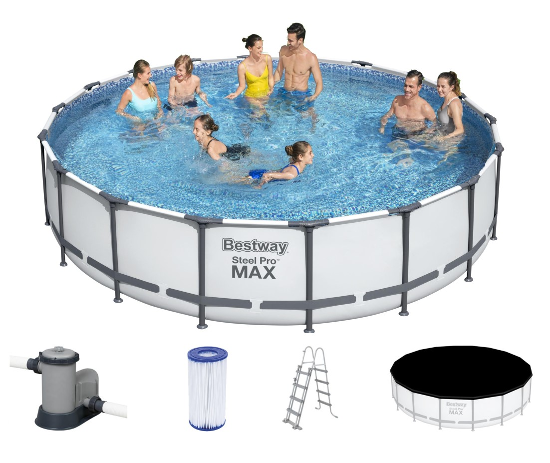 Bestway metal frame pool komplett set 549x122 56462 for Piscina estructural intex
