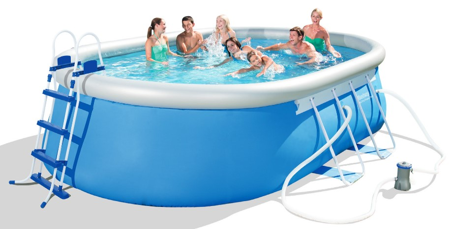 Bestway oval fast set pool komplett set 549x366 56461 for Pool komplett set stahlwand