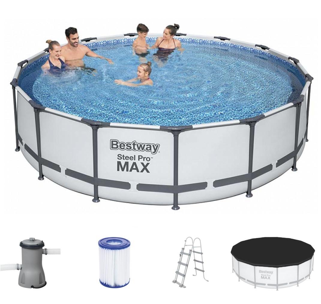bestway metal frame pool komplett set 457x107 56488. Black Bedroom Furniture Sets. Home Design Ideas