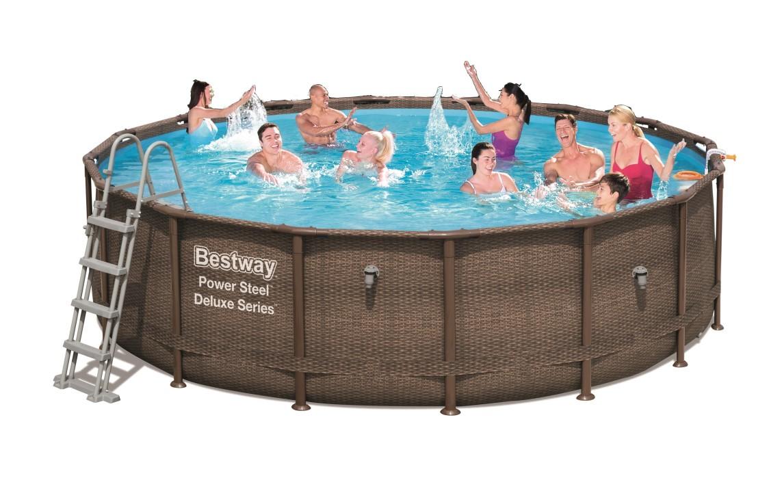 Bestway power steel deluxe pool set 488x122 rattan 56666 - Bestway power steel frame pool ...