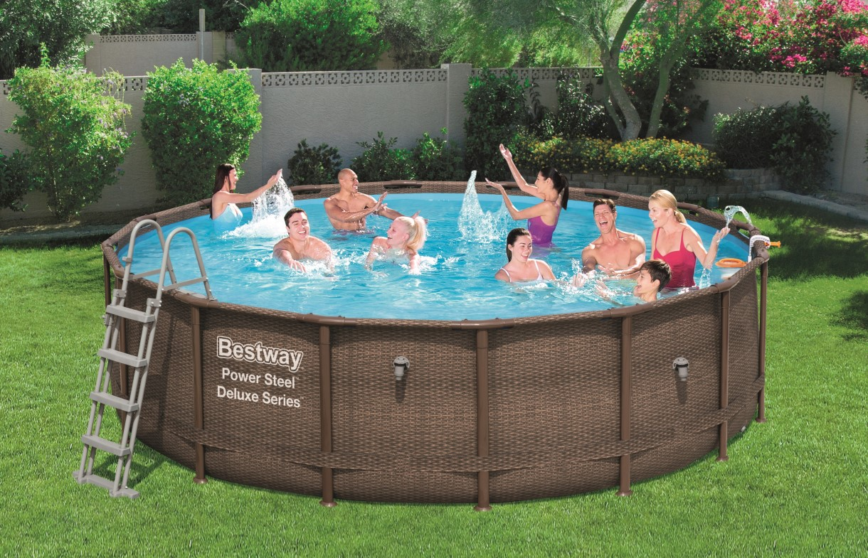Bestway power steel deluxe pool set 488x122 rattan 56666 for Gunstige poolsets