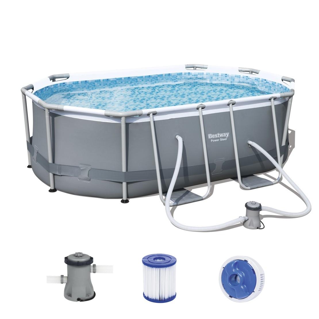 bestway oval frame pool set 300 x 200 56617. Black Bedroom Furniture Sets. Home Design Ideas