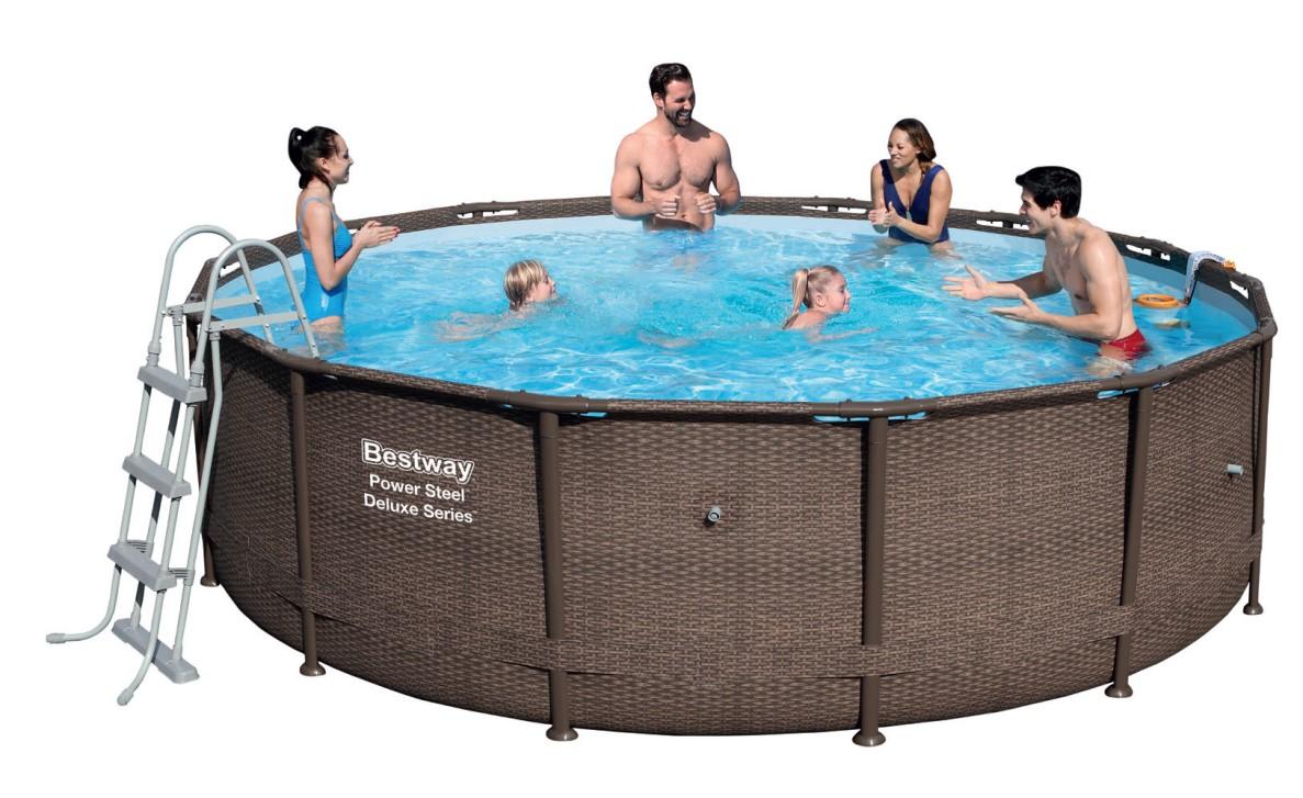 Bestway power steel deluxe pool set 427x107 rattan 56664 for Schwimmbecken angebote