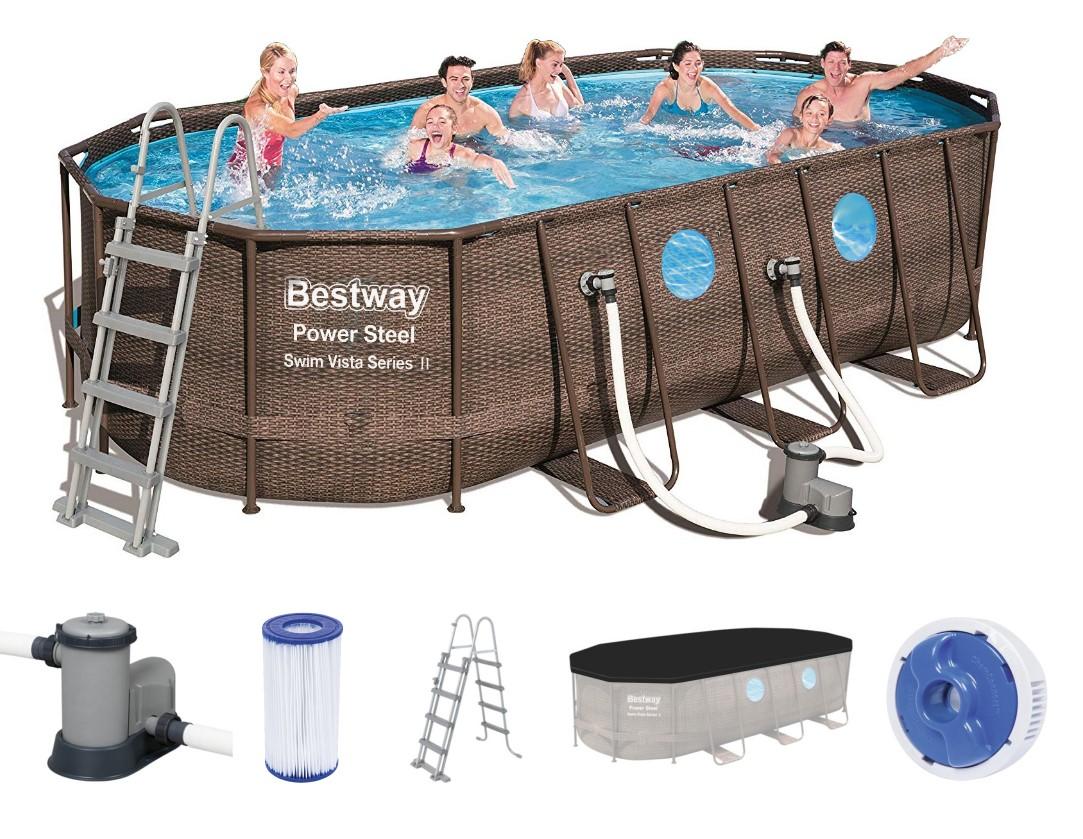bestway power steel vista oval pool set xx rattan